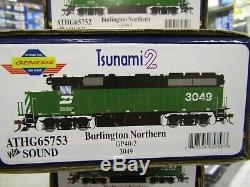 Athearn G65753 Burlington Northern Gp40-2 Ho Tsunami 2 DCC & Snd, DC Rd #3049