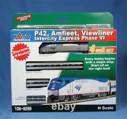 Kato 106-6285 N Amtrak Set, P42 Loco + 3 Viewliner Cars (dc). DCC Option