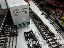 Spur G LGB ROLLBOCKANLAGE mit, DR V10 002 umgespurt+Grube+2 Wagen 45/64mm