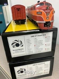 Sunset 3rd rail EMD E7 SP A-B set 2 rail o scale DC/DCC sound new in box